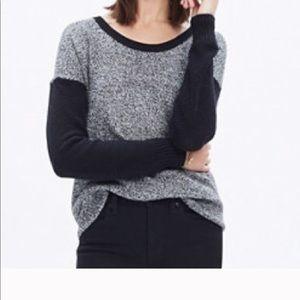 Madewell Black White Marl Crew Neck Sweater
